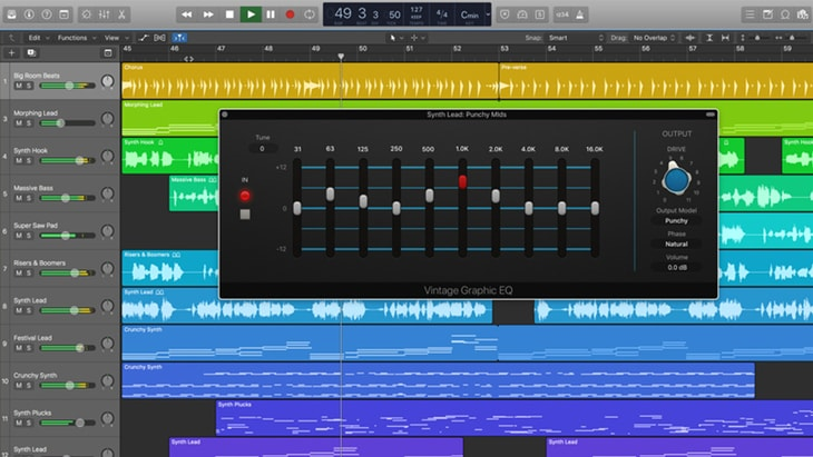 Logic Pro X. One of the best paid DAWs (Digital Audio Workstations).