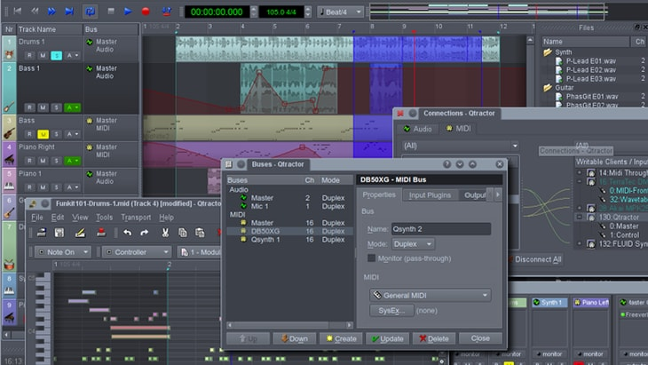 Qtractor. One of the best FREE DAWs (Digital Audio Workstations).