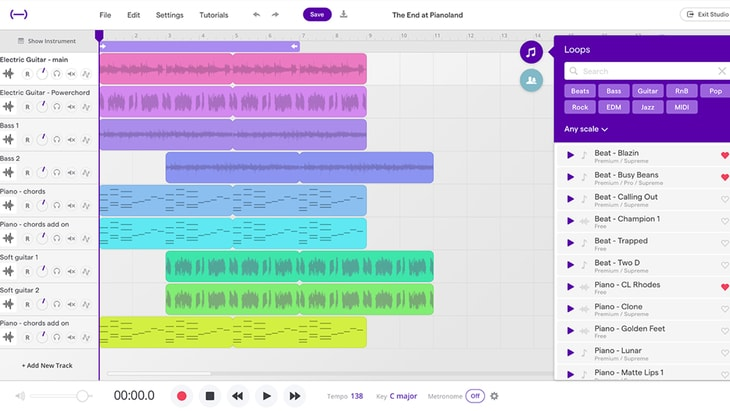 Soundtrap. One of the best FREE DAWs (Digital Audio Workstations).