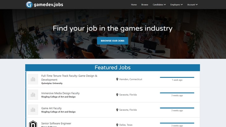 Gamedev Jobs. One of the best websites to find work in Game Audio