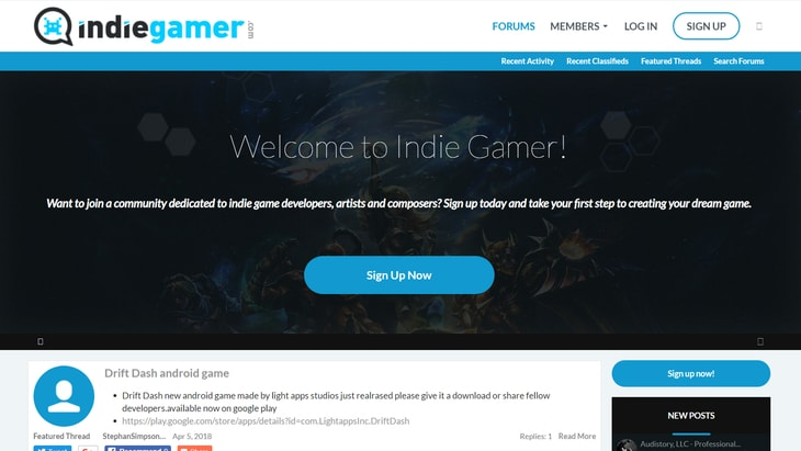 IndieGamer. One of the best websites to find work in Game Audio