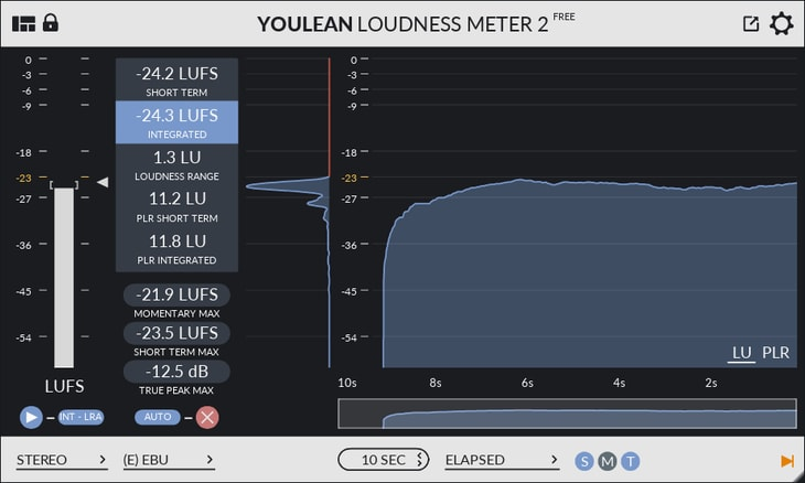 Youlean loudness meter being used to control the output level of the master track. This level is in LUFS and not Decibels (dB).
