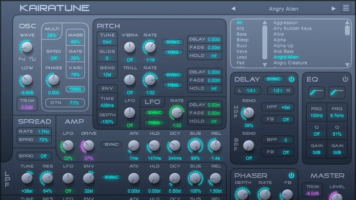 Kairatune. One of the best free synths for EDM (Electronic Dance Music).